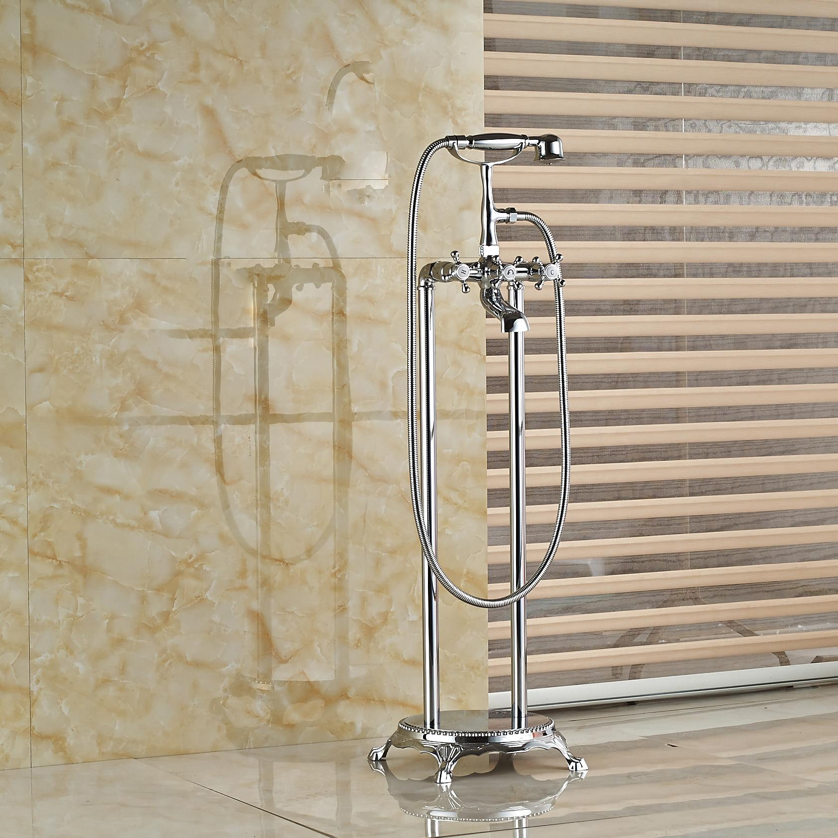 2019 Wholesale And Retail Polished Chrome Brass Bathroom Tub Faucet W Hand Shower Mixer Tap Clawfoot Free Standing Dual Legs Mixer From Gonglangno1