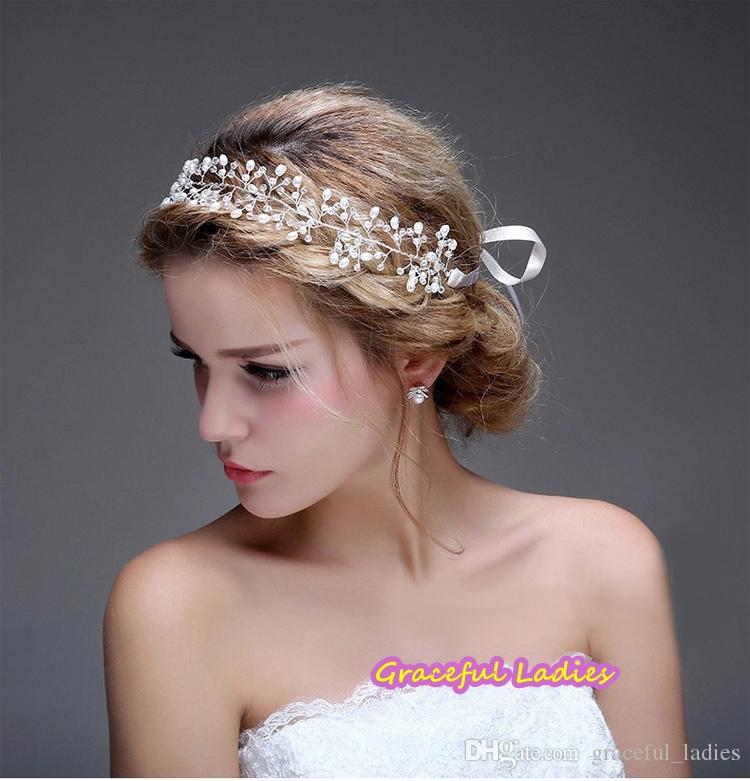wholesale wedding hair accessories hairband women clear beads silvergold no fading copper wire wedding jewelry cheap tiaras custom made