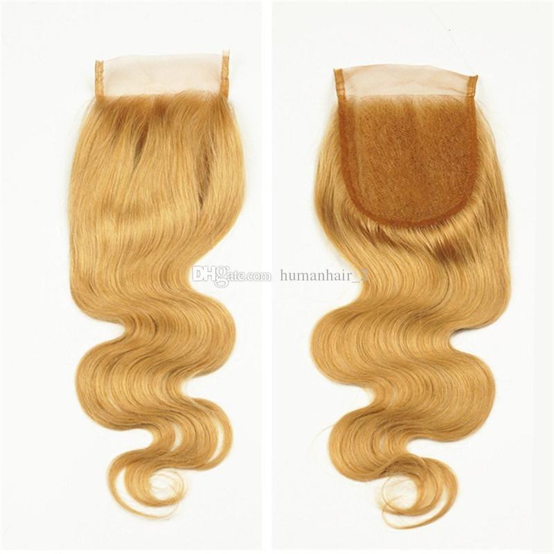 브라질 인간 머리카락 벌꿀 금발 # 27 Pre Plucked 4 * 4 레이스 클로저 바디 웨이브 말레이시아 버진 헤어 헤어 케어 1pc DHL