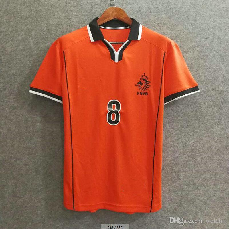 sports shoes 2e49d 2674e 2019 Classic 1998 World Cup Netherlands Retro Soccer Jerseys Holland  Football Shirts Soccer Clothing Custom Name Number BERGKAMP 8 Top Aaa  Quaity From ...