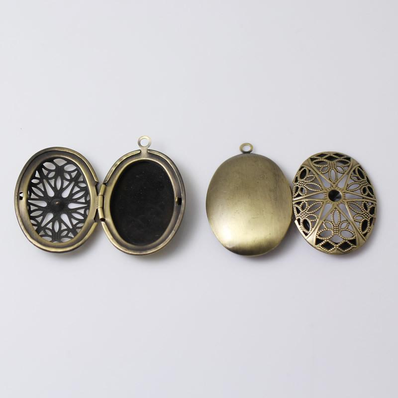 Beadsnice antique brass 2 photo oval locket pendant charm family filigree custom gift for her ID 7884