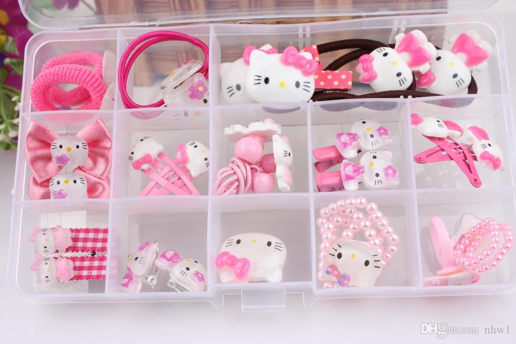 2f6c9a606 ... Hair Accessories Sets Hello Kitty Cat Bracelet Hairpin Hair Clip Ring  Head Hair Rubber Rope Bands ...