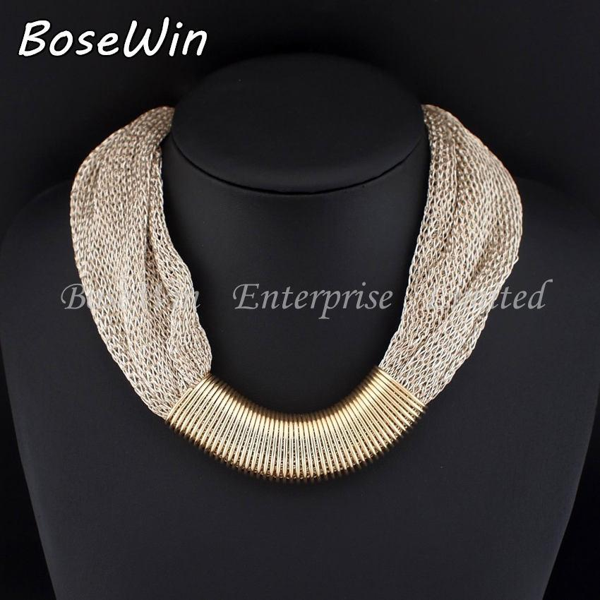 BOSEWIN Sıcak Satış Tasarım Moda Kadınlar Charm gerdanlık kolye Altın Toptan hediye N2604 Twisted Singapur Zinciri Beyanı Kolye kaplama