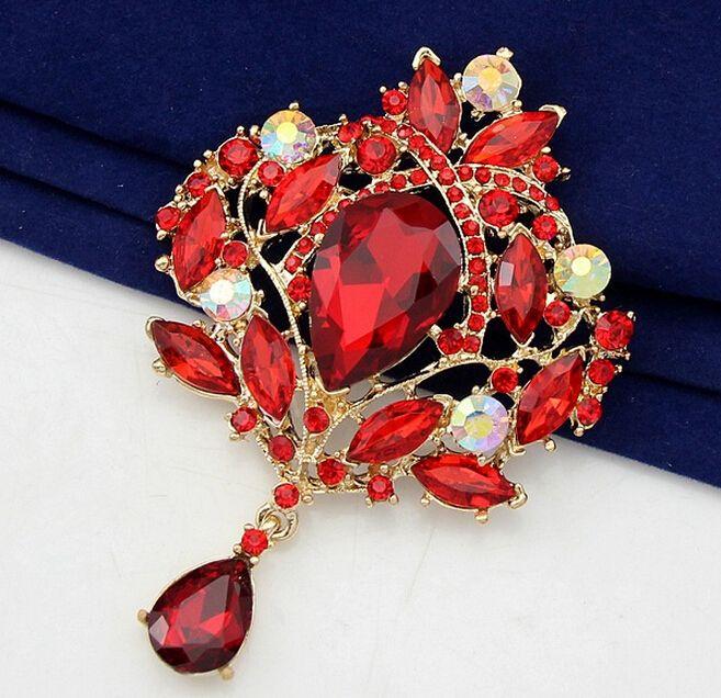 Vintage Style Art Déco Fleur Goutte Broche Broche Pendentif Rouge Strass Cristal