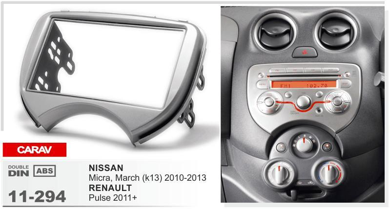 CARAV11-294 Car Radio Facia for NISSAN Micra, March (K13) / RENAULT Pulse Stereo Fascia Dash CD Trim Installation Kit