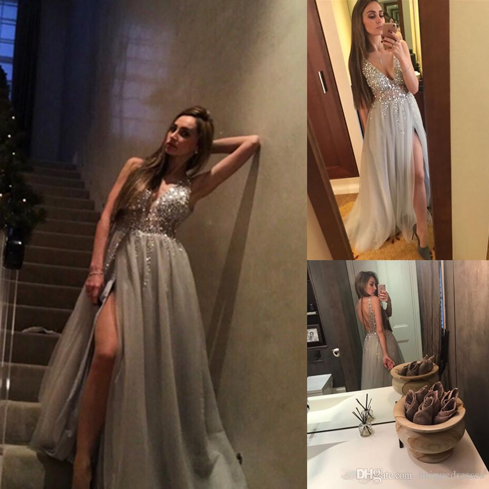 2018 Sexy Deep V Neck Prom Dresses Sheer Crystals Beaded A Line Side Split Tulle Evening Party Gown Backless Vestidos De Festa