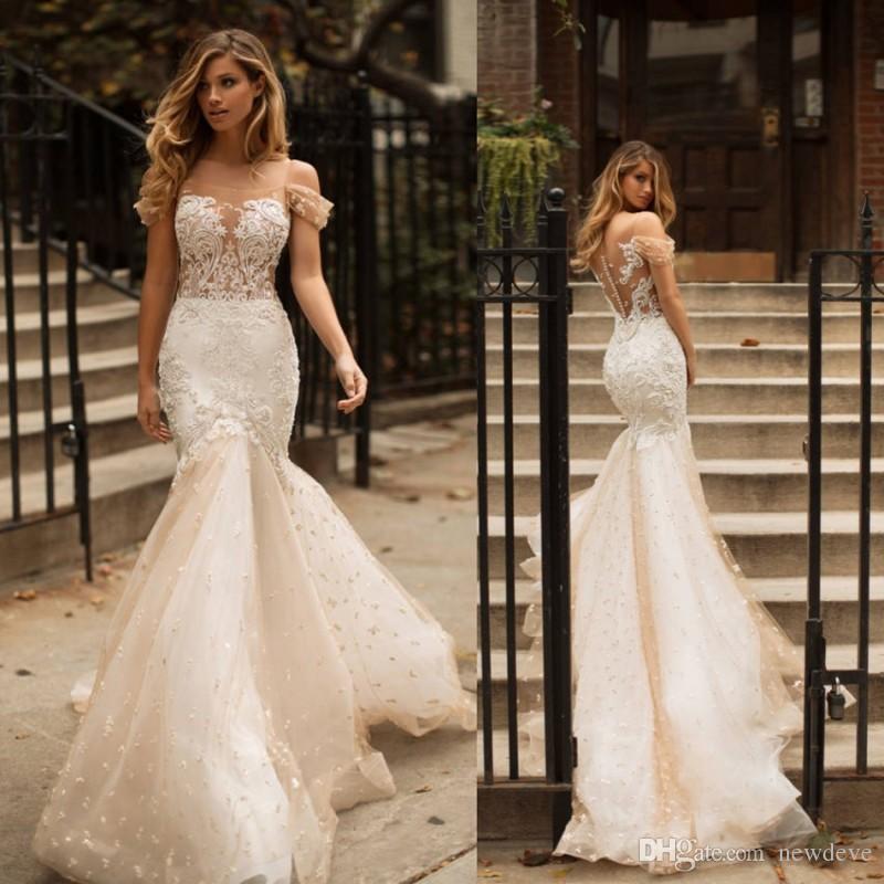 Milla Nova 2019 Wedding Dresses Champagne Off Shoulder Vestido De Noiva Lace Beaded Bridal Gowns Dubai Arabic Mermaid Wedding Dress Mermaid Wedding