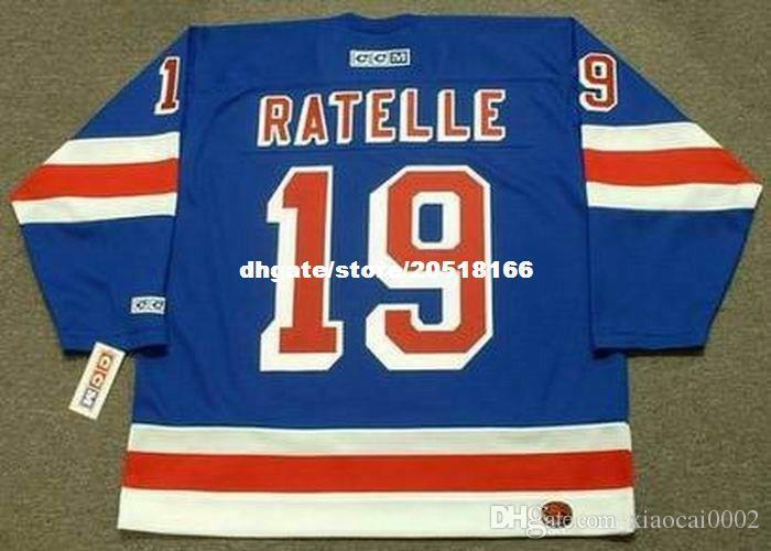 пользовательские вышивка мужская Жан Ратель Нью-Йорк Рейнджерс 1972 CCM вышивка прочь дешевые ретро хоккей Джерси