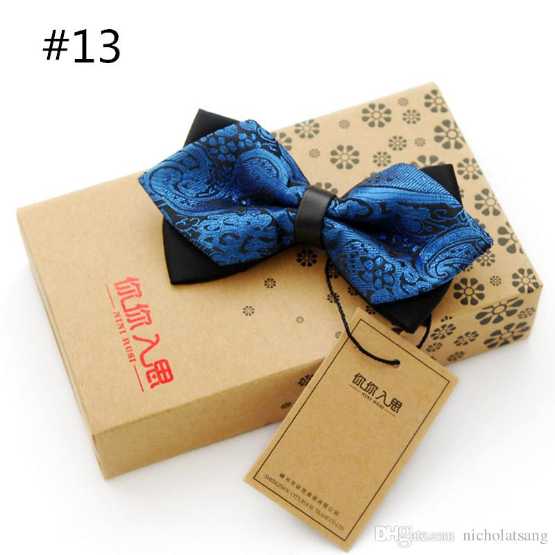 영국 귀족 스타일 넥타이 Cravat Bowknot 남자 샤프 더블 보우 타이 솔리드 컬러 바우 웨딩 신랑 핑크 Bowties 27 스타일 도매