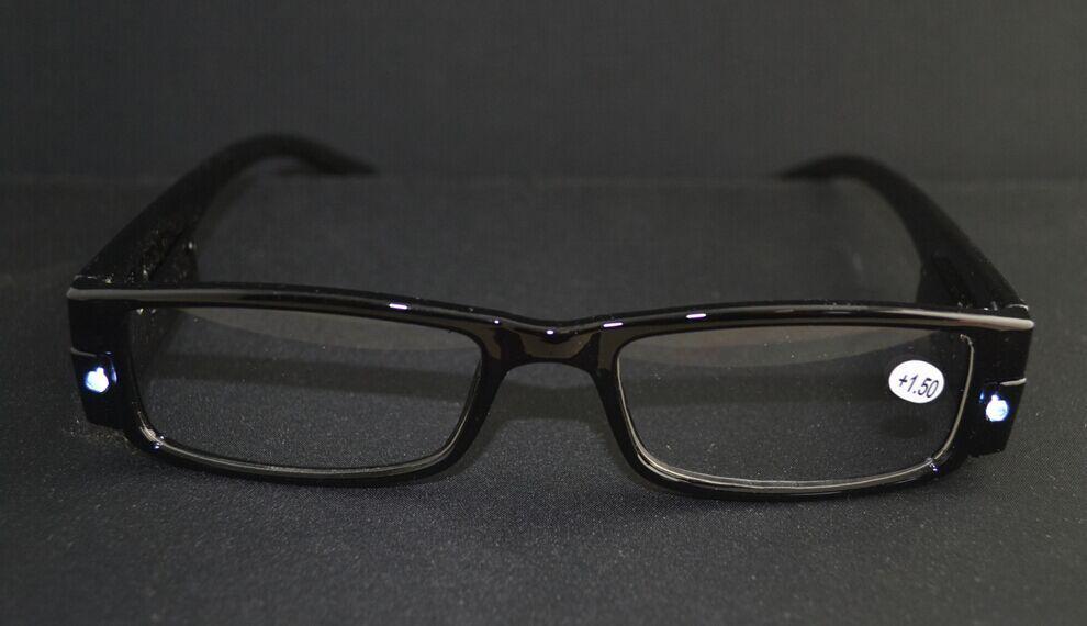 새로운 재미 LED가 프레임을 읽는 안경 블랙 Hinged 리더 안경 20pcs / lot 무료 배송