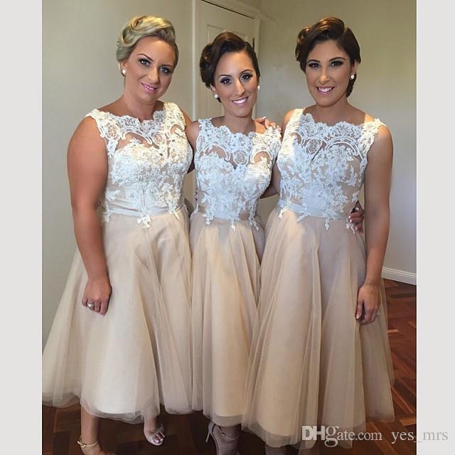 빈티지 신부 들러리 드레스 짧은 결혼식 환상 목 흰색 레이스 아플리케 차 길이 샴페인 파티 플러스 사이즈 웨딩 게스트 가운