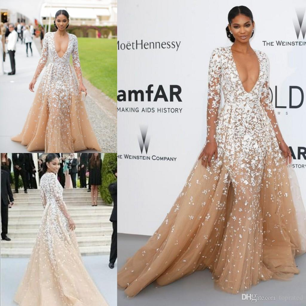 2020 Zuhair Murad Evening Gowns Long Sleeves Champagne Tulle Formal Cleberity Pageant Deep V Neck Applique Prom Party Dress Sweep Train