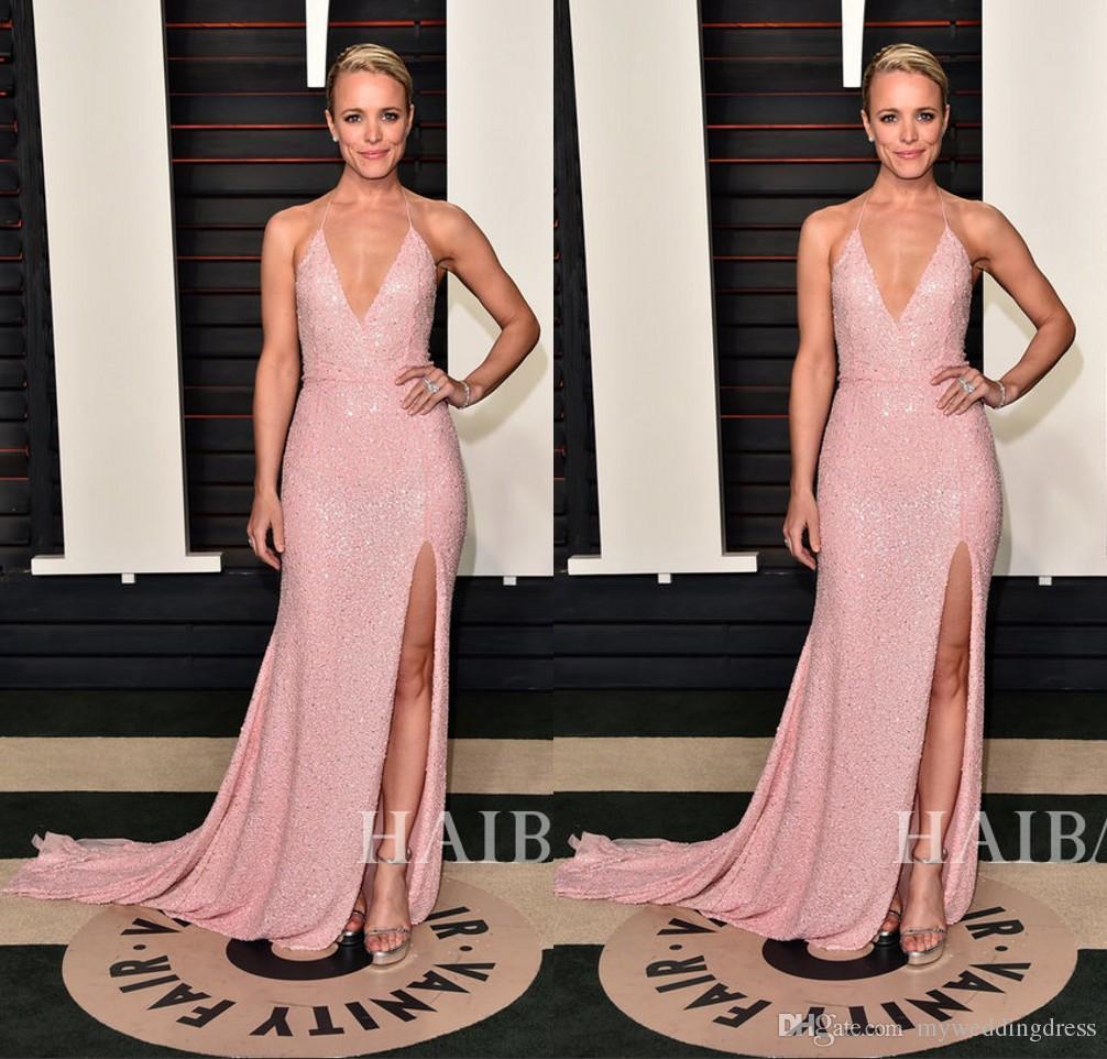 Halter Pink Sequined Red Carpet Celebrity Dresses 2016 88th Oscar ...