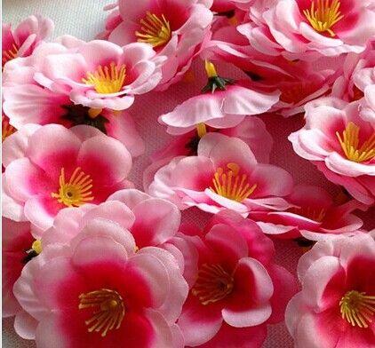 200 sztuk 5 Kolory Sztuczne Brzoskwinia Kwiat Dekoracyjny Dirct Silk Flower Head Head Róża Pojedyncza Rose Dla Dekoracji Domu Ślubne