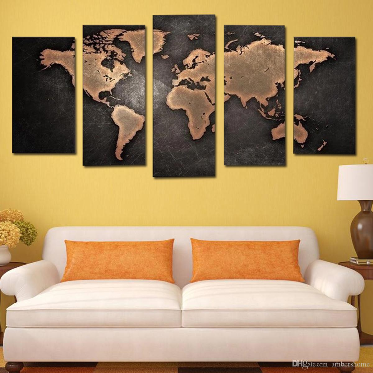 World Map Mural Hand-painted Painting Canvas Art Decorative Scenery ...