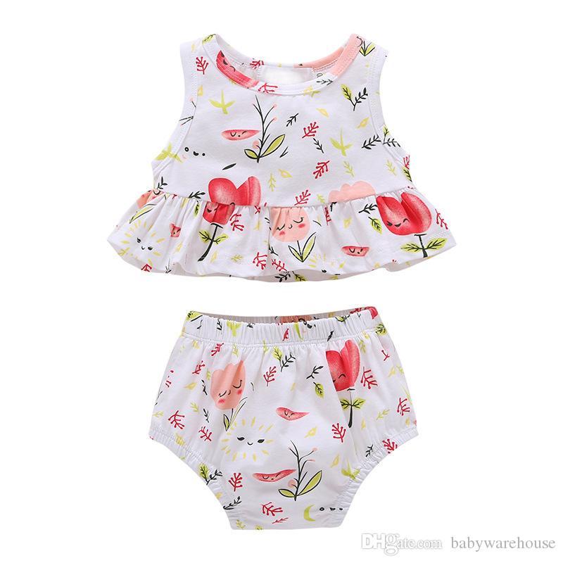 Schöne Baby Mädchen Kleidung Sommer Neugeborenen Mädchen Kleidung Set Blume Ärmellose Tops + Shorts 2 STÜCK Kinder Kleidung Floral Sunsuit Outfit Set