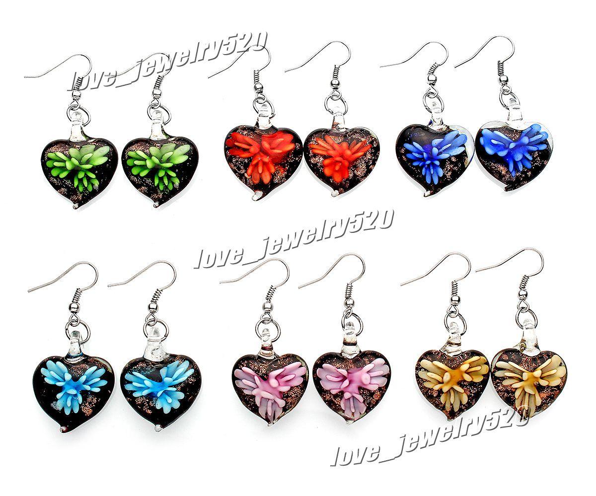 Fashin wholesale 6Pairs handmade mix color Italian Gold sand Heart 3D Flower Lampwork murano glass Earrings Free shipping #E109