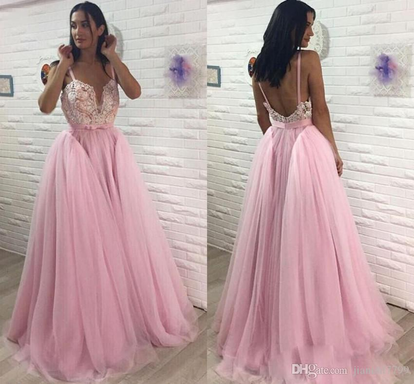 Wholesale Pink Spaghetti Straps Prom Dresses Lace Top Beaded A Line ...