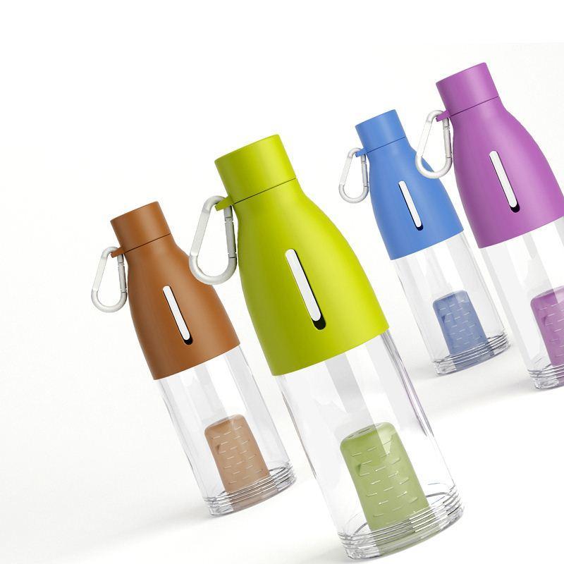 Nueva llegada Taza de té de plástico Botellas de agua Botella de ciclismo transparente Tazas de viaje Taza Drinkware con tapa Caldera para acampar Deporte