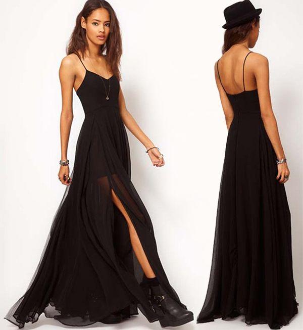 女性の黒いスパゲッティストラップロングドレスセクシーな西部女性プラスサイズの有名人ボールガウンの床の長さのドレス
