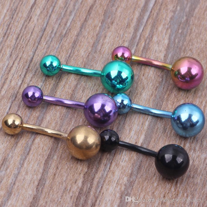 Atacado 100 pçs / lote mix 7 cores de aço inoxidável Banhado Titanium body piercing jóias umbigo Bar umbigo anel