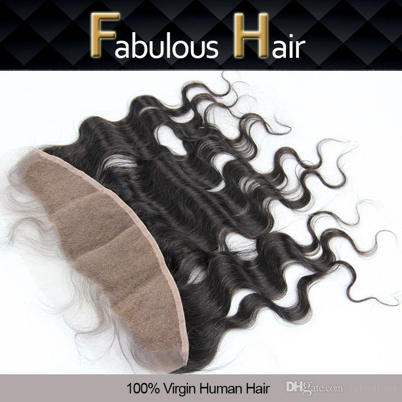 """Favoloso Brasiliano Virgin Body Wave 13x4 """"I capelli vergini non trasformati Wavy Freepart Chiusura Capelli Blackots Nodi Blackots Pizzo Frontale Freeshipping"""