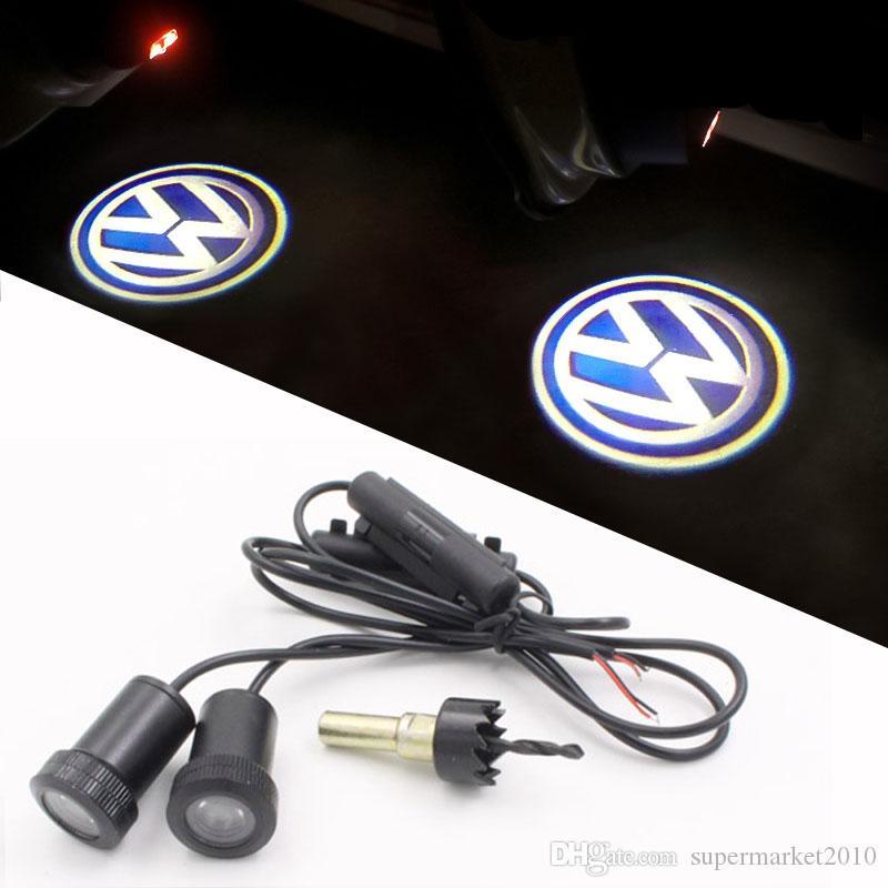 PORTA LED AVVERTENZA LUCE CON AUTO VW Logo Proiettore Volkswagen Golf 5 6 7 Jetta MK5 MK6 MK7 CC Tiguan Passat Scirocco Benvenuto