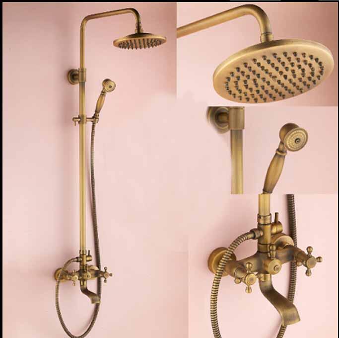 Modern Antique Brass Rainfall Shower Faucet Bathtub Shower Mixer Dual Handle Tap