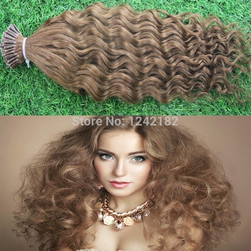 """10-30 """"brezilyalı Remy Saç # 8 Açık Kahverengi Doğal Keratin Kapsül prebonded I İpucu İnsan Saç Uzatma fusion saç uzantıları 1.0 g / ipliklerini"""