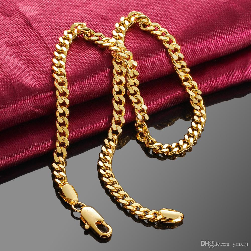 6MM 18inch 18K Gold plated Necklace Fashion Men\'s Curb Chain ...