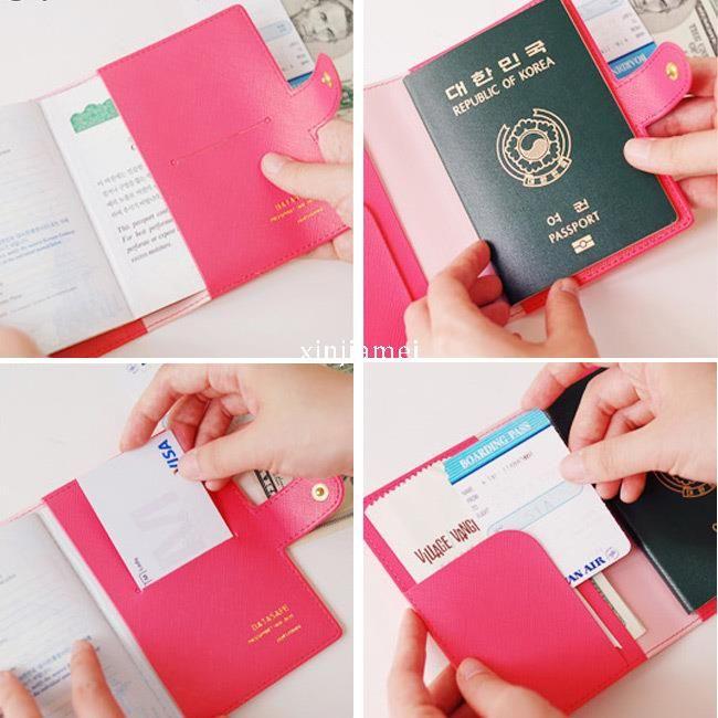 Hot Bowknot Buckles Pasaporte ID Titular de la tarjeta de la cubierta protectora Funda 4 colores