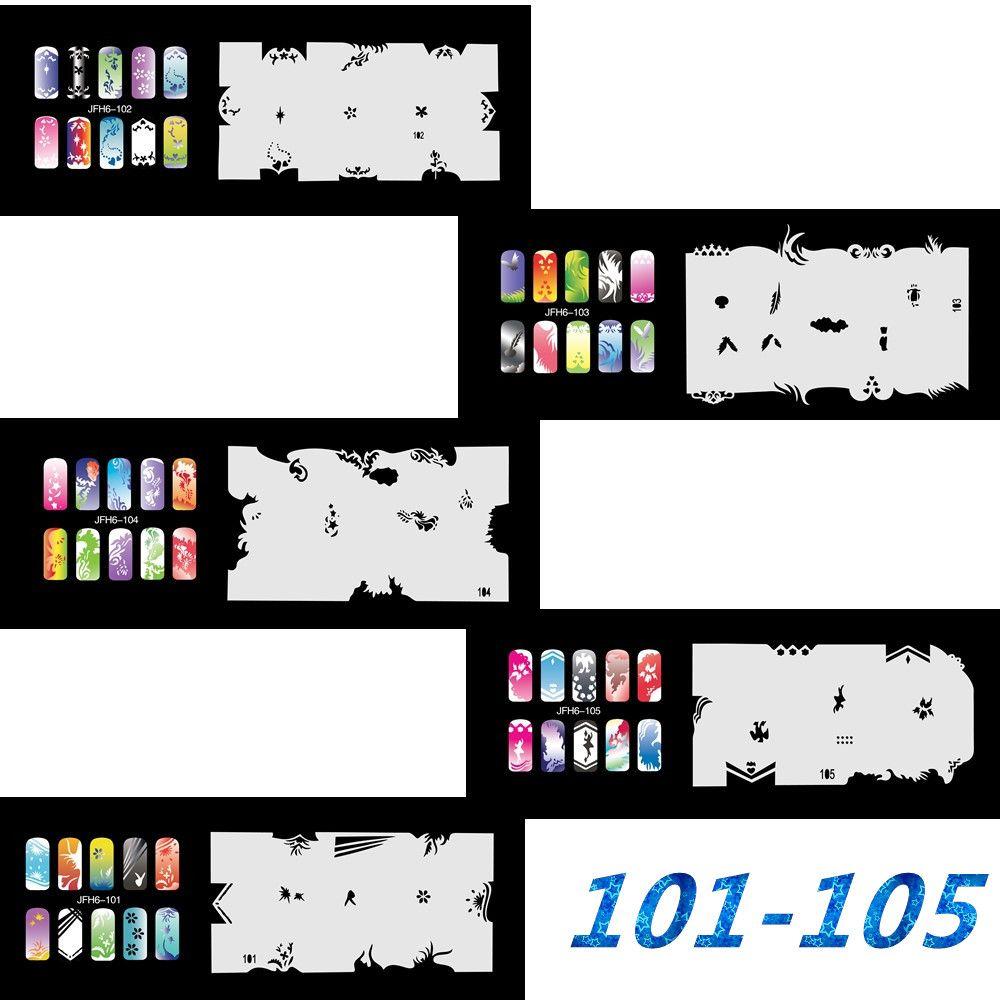 5Psc / lot 2017 Neue Mode Airbrush Nagel Schablonen Set 101-120 Werkzeuge Diy Airbrushing Vorlage Blatt für Airbrush Kit Nail art Farbe