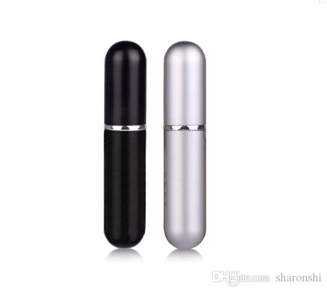 Wholesale 100PCS 5ml Black / Silver Refillable Empty Atomizers Travel Perfume Bottle Spray Makeup Aftershave Metal Bottle DHL Free Shipping