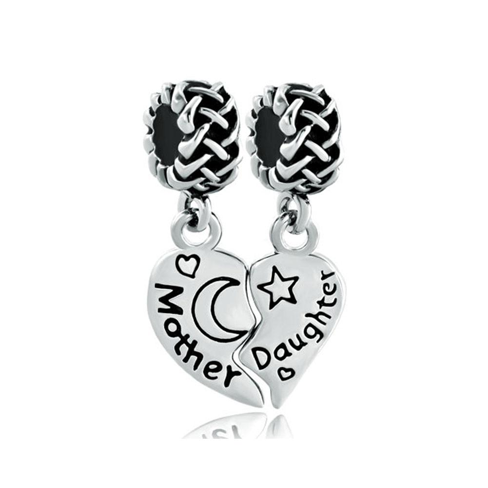 Rhodium Plating Heart Mother Daughter moon and star Dangle Charm fit Pandora Chamilia Biagi bracelet