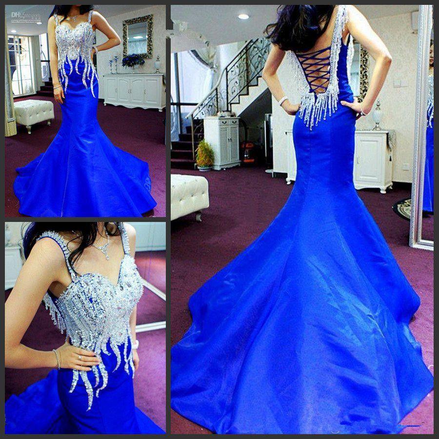 Sparkly New Очаровательная Русалка Royal Blue Вечерние платья Спагетти Ремни Кристаллы Бисероплетение Тафта Леди Вечерние платья на заказ E89