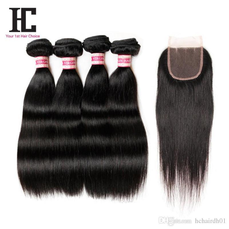 브라질 처녀 머리카락 마감 4 번들과 함께 묶음 스트레이트 머리카락과 스트레이트 인간의 머리카락 직물 브라질 버진 헤어 클로저