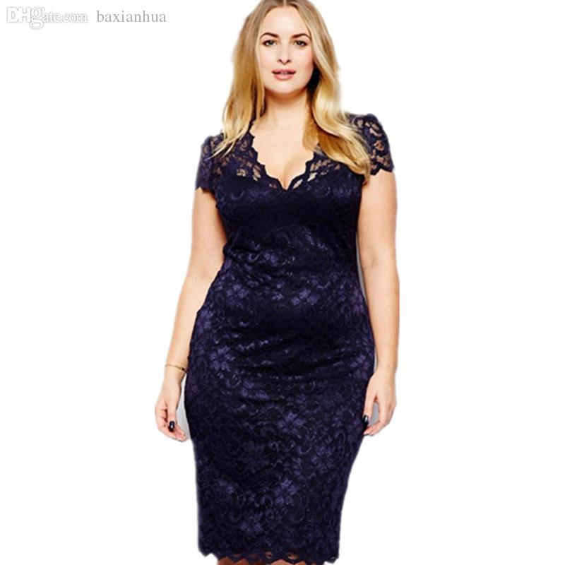 도매 - 2016 Vestidos 드 Renda 캐주얼 여성 레이스 여름 맥시 드레스 우아한 플러스 사이즈 파티 섹시한 드레스 Vestido Longo Vetement Femme