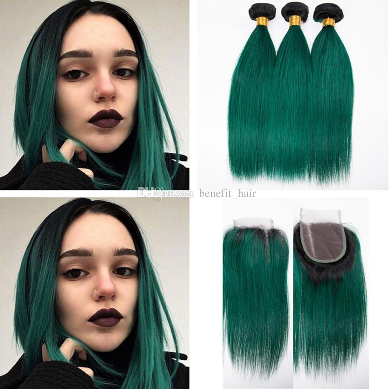 옹 브르 검은 진한 녹색 머리 3 번들 4x4 폐쇄와 함께 실크 스트레이트 버진 인간의 머리 weft 확장자 1B 녹색 폐쇄 4x4