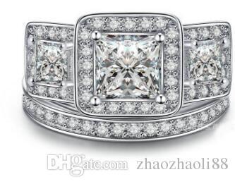 1Ct Cut Lad Diamond Beautiful Halo Engagement Wedding Tro Set 14k Gold Fill Ring