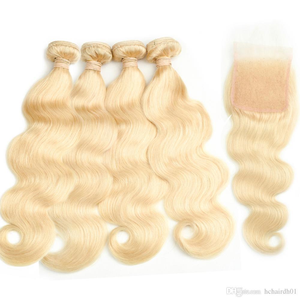 Brazilian Virgin Hair 4 묶음, 폐쇄 # 613 Blond Body Wave 헤어 브러시 헤어 브러시 블렌드