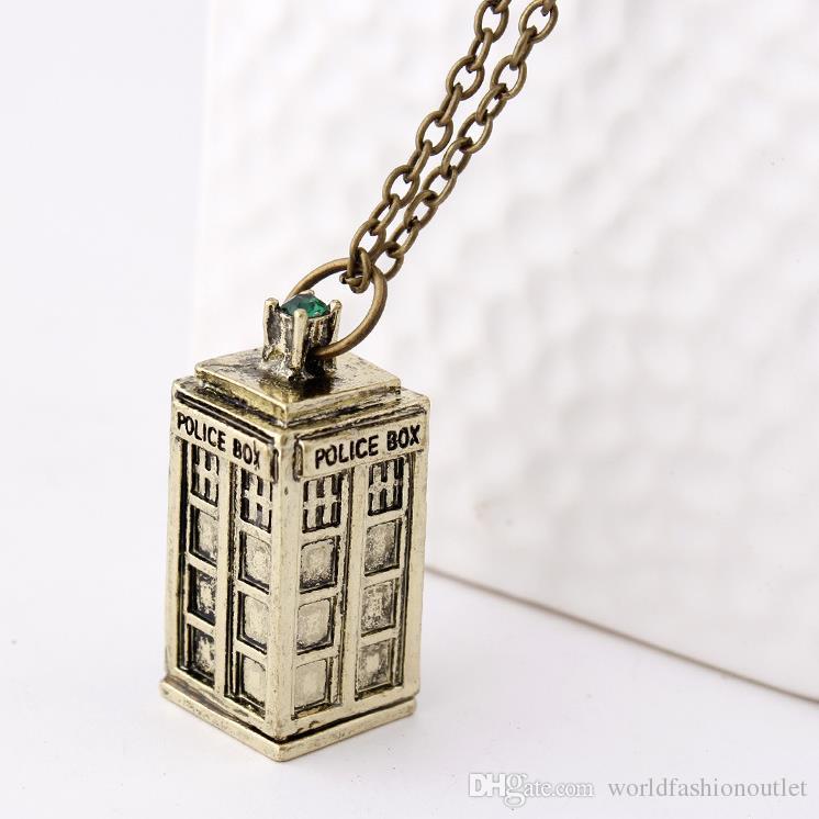 Doctor Who 3D pendente fascino a lunga catena Dichiarazione TARDIS polizia pubblica Casella di chiamata dell'annata della collana per bambini dai 3 colori liberano la nave DHL