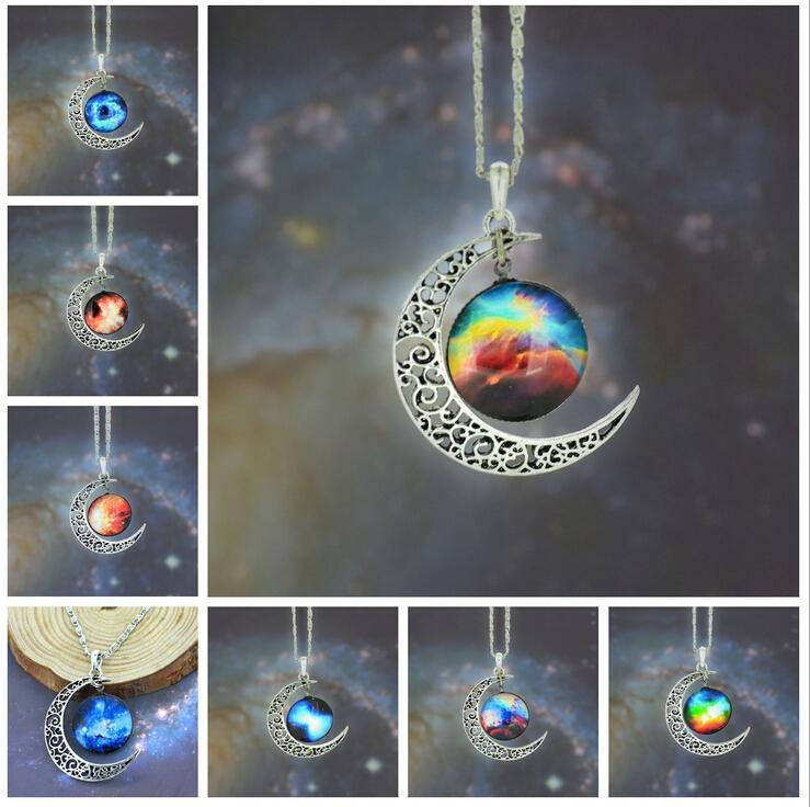 12 colors Vintage moon necklace starry Moon Outer space Universe Gemstone necklaces pendants Chain jewelry Children Accessories 48pcs/lot