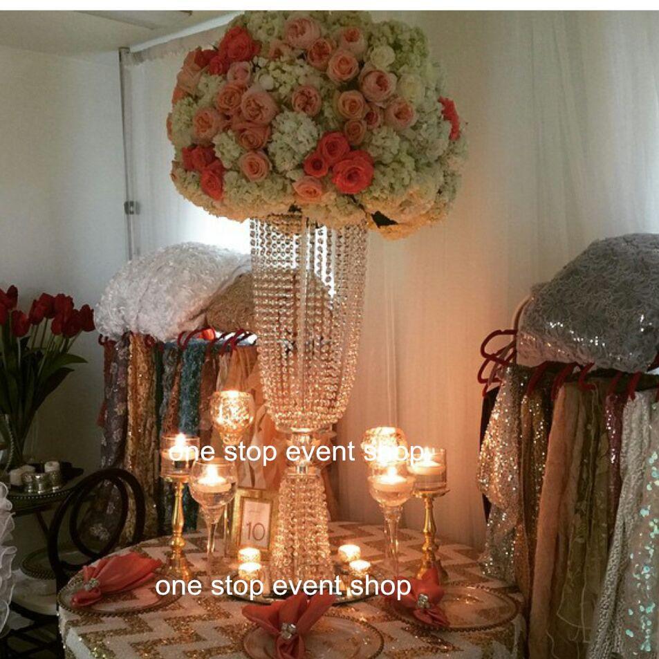 claro grande vaso de flor de cristal (mental com acrílico cristal) para decoração de casamento