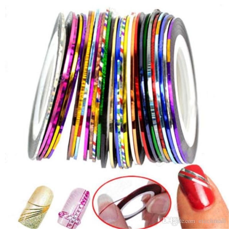 Горячих моды цвета Rolls Чередование ленты Линия Nail Art Decoration Sticker несколько цветов Nail Art Nail Patterns Выделите ногти Обертывание наклейка