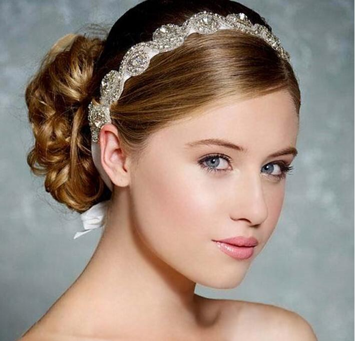 2015 الراقية الفاخرة اليدوية كريستال زهرة حلوة الأميرة العروس الزفاف غطاء الرأس اكسسوارات للشعر العصابات الشعر TS00072