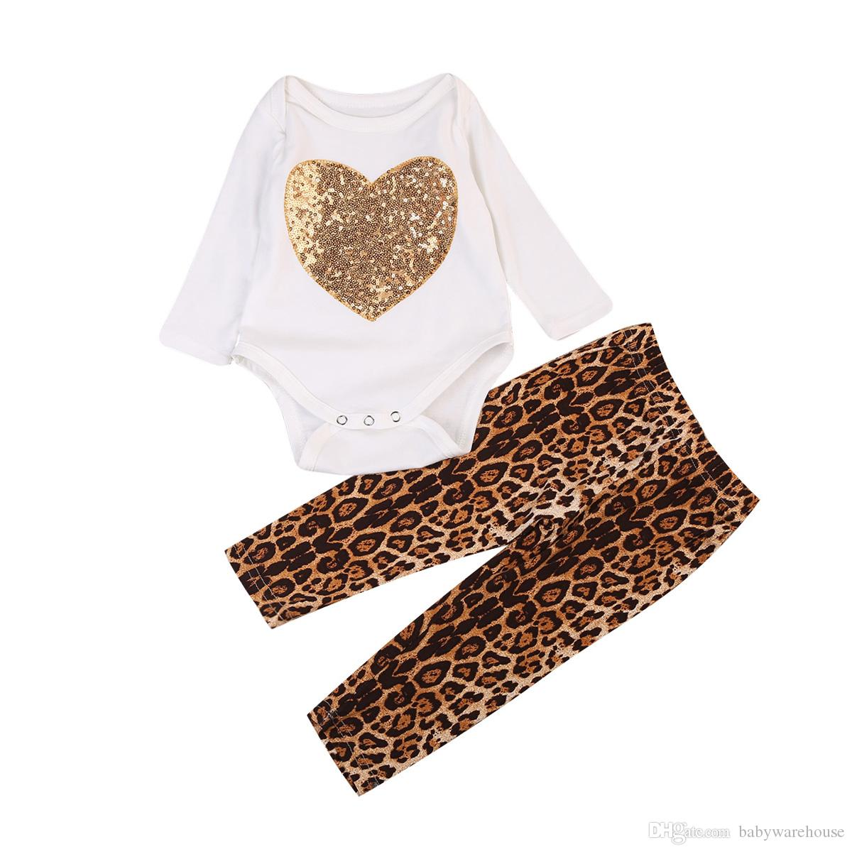 Newborn Baby Girl Clothes Cotton Long Sleeve Sequins Heart Romper Tops + Leopard Pants Leggings 2PCS Girls Outfits Toddler Kids Clothing Set