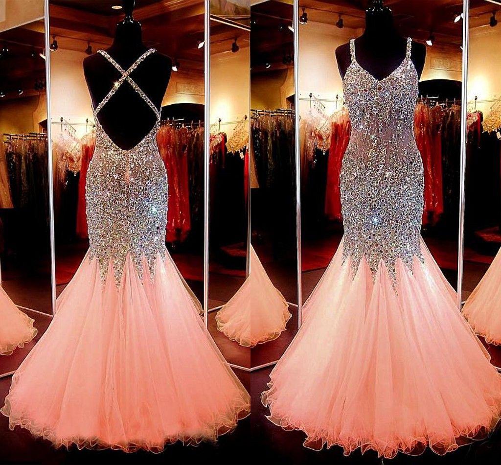 Платья выпускного вечера для русалок с персиками Spaghtti Crsytal Вечернее платье с бисером Назад Criss Cross Вечерние платья 2015