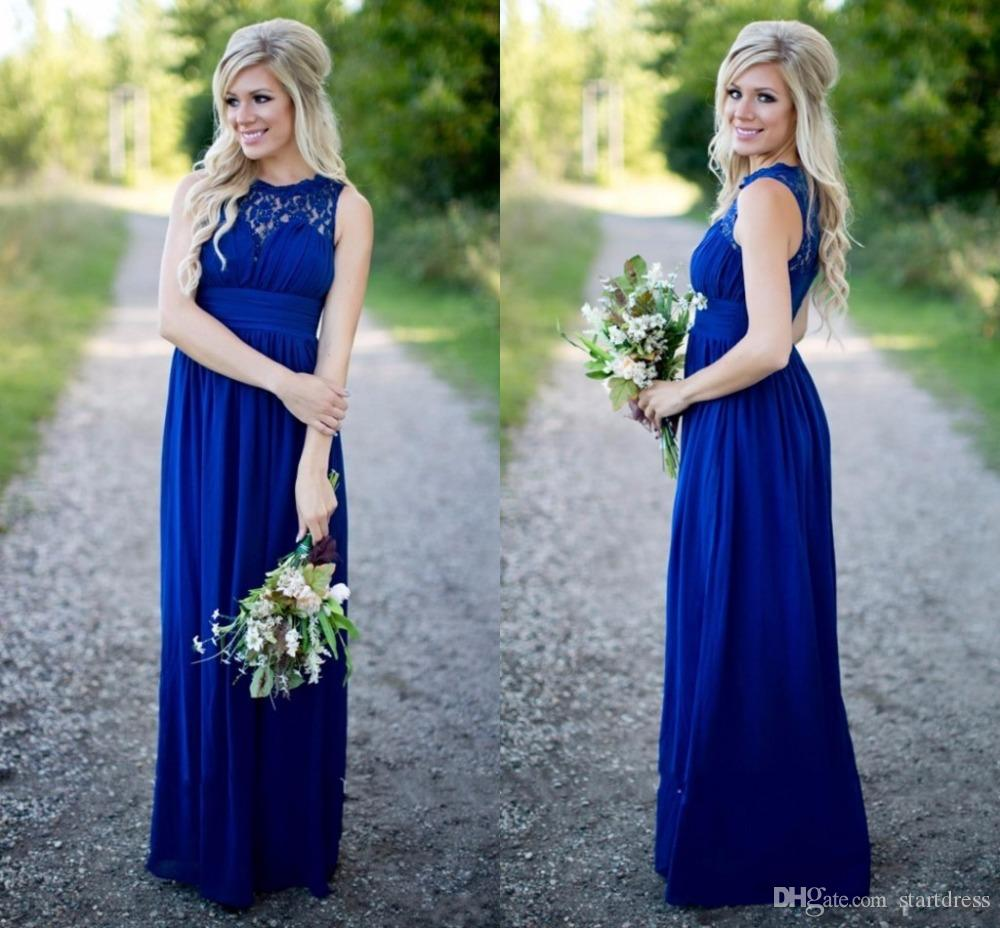 Designer Royal Blue Cheap Country Bridesmaid Dresses Sheer Neck Chiffon Junior Long Prom Dresses Summer Bohemian Modest Evening Gowns