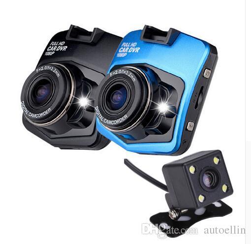 عدسة مزدوجة سيارة مسجل فيديو كاميرا مع النسخ الاحتياطي كاميرا الرؤية الخلفية GT300 سيارة DVR داش كاميرا كامل HD 1080P وقوف السيارات مسجل