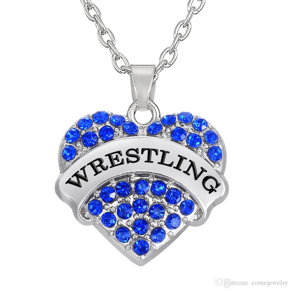 Wholesale high quality sports words wrestling heart mixcolor high quality sports words wrestling heart mixcolor pendants a rhodium plated for menwomens gift statement necklaces aloadofball Image collections